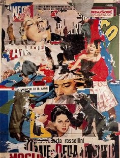 Italian artist Mimmo Rotella is exponent of décollage.    Décollage, is the opposite of collage - instead of an image being built up of all or parts of existing images, it is created by cutting, tearing away or otherwise removing pieces of an original image.A similar technique is the lacerated poster, a poster in which one has been placed over another or others, and the top poster or posters have been ripped, revealing to a greater or lesser degree the poster or posters underneath.