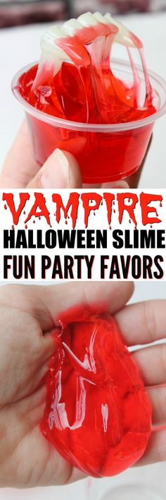 How to Make Fun Halloween Slime! This Vampire slime make great Non-Candy Party Favors and is a fun candy alternative for Halloween. Fun Halloween Crafts, Halloween Party Favors, Halloween Activities For Kids, Halloween Treats, Diy Party, Party Ideas, Holiday Crafts, Halloween Vampire, Halloween Birthday