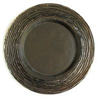 The Jay Companies 12 3/4 inch Round Arizona Gray Glass Charger Plate
