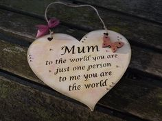 Ideal present for Mum/Mummy/Mother by KatijanesCreations on Etsy Presents For Mum, You Are The World, Wooden Hearts, Wall Plaques, Mother Day Gifts, Heart Shapes, Personalized Gifts, Valentines, Hand Painted