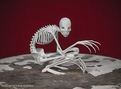 This is a digitally sculpted, 3D printed replica of The Rakes skeleton. It measures 5 inches long by 2.4 inches wide by 4 inches high. This piece is printed in a durable Nylon material with a slightly grainy texture.    The skeleton comes with a 2 page informational pamphlet about The Rake, and a Certificate of authenticity, detailing the print number and the artists signature.    This model is made to order and may take up to 4 weeks to ship, although we will do our best to ship it as soon…