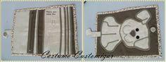 Carteira em tecido de algodão e Oxford, botão de imã, plástico para colocar foto, quatro repartições, sendo uma com zíper, seis repartições para cartões.