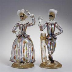 Pair-Cenedese-Murano-Vetri-commedia-dell-039-arte-glass-figures-Lot-133