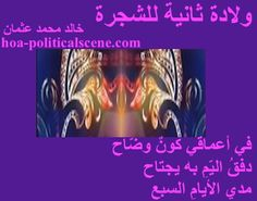 """Couplet of poetry from """"Second Birth of the Tree"""", by poet & journalist Khalid Mohammed Osman framed in eggplant."""