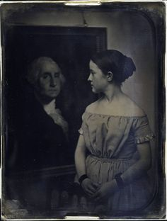 """24hoursinthelifeofawoman: """" Girl with portrait of George Washington, ca. 1850 ~ Daguerreotype by Southworth and Hawes """""""