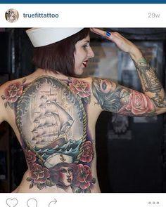 Beautiful art from Tomas Archuleta at True Fit Tattoo in San Diego. #sandiego #tattooartist #backpiece #backtattoo