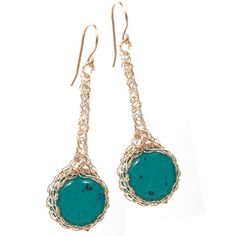 #Turquoise #Earrings #mint #green in #crocheted gold filled #jewelry by #Yoola