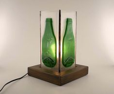 Slumped Green Bottle Fused Glass Lamp