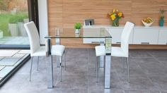 Dining Room Glass Dining Table White Leather Dining Chair Flower Vase Green Plant Glass Window Cellphone Fruit Grey Marble Tiles White Cabinet Small Dining Room for Two