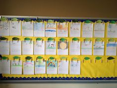 diy cheap and easy way to display student work. hot glue thumb tacks to clothespins and press into wall. layer student work so when parents come in they can look at all the writing they have done!