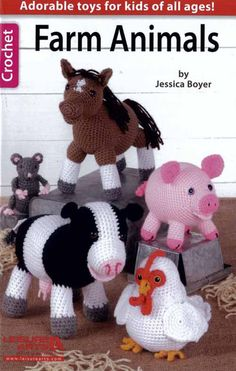 Country critters make cute collectibles or playtime pals. Crochet all 6 with medium weight yarn plus novelty accents.