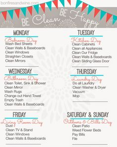 Top 10 Free Printable Cleaning Schedules! - Mommy Envy