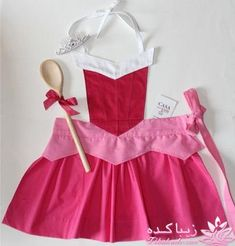 Princess Aurora apron-- so cute! Sewing Aprons, Sewing Clothes, Diy Clothes, Dress Up Aprons, Dress Up Outfits, Dresses, Sewing To Sell, Sewing For Kids, Disney Aprons