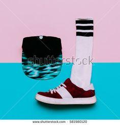 Flat lay fashion set: Fashion skateboard shoes, fashion stockings. Cap. minimal urban style. Top view.
