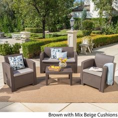 Daytona Outdoor 4-piece Wicker-style Chat Set with Cushion by Christopher Knight Home Outdoor Seating Areas, Patio Seating, Outdoor Spaces, Outdoor Living, Outdoor Decor, Outdoor Ideas, Outdoor Sofa, Beige Cushions, Green Cushions