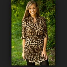 Leopard tunic dress Removable belt. Roll & button sleeves. Open to offers. No trades or PP please Dresses