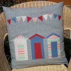 Beach Huts & Bunting Cushion - Folksy