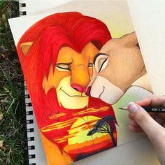 "3,657 Likes, 42 Comments - I try to create art everyday (@art_is_life100) on Instagram: ""My little drawing of a double exposure Lion King☀️ I love doing simple drawings like this because…"" lion king"