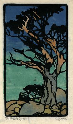 The Witch Cypress by William Seltzer Rice, circa Environment Painting, Woodcut Art, My Art Studio, Woodblock Print, Printmaking, Watercolor Art, Fantasy Art, Graphic Art, Illustration Art