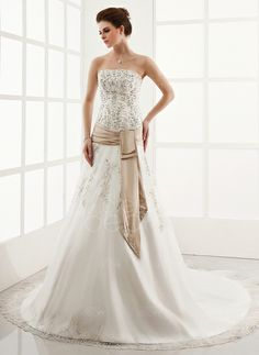 A-Line/Princess Strapless Cathedral Train Organza Satin Wedding Dress With Embroidery Lace Sash (002000303) http://www.dressdepot.com/A-Line-Princess-Strapless-Cathedral-Train-Organza-Satin-Wedding-Dress-With-Embroidery-Lace-Sash-002000303-g303 Wedding Dress Wedding Dresses #WeddingDress #WeddingDresses