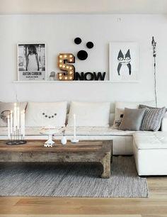 wandgestaltung wohnzimmer wandregal holz weiß sofa couchtisch holz: