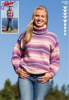 91655 - Basisplagg med isatt erme til dame fra Järbo Basic Outfits, Tibet, Free Pattern, Turtle Neck, Knitting, Crochet, Sleeves, Sweaters, Handmade
