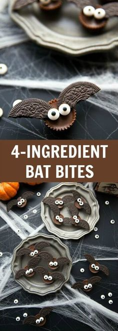 The BEST Halloween Party Recipes {Spooktacular Desserts, Drinks, Treats, Appetizers and More!} Easy Four Ingredient Halloween Treats - Mini Bat Candy Bites Recipe via Chelseas Messy Apron -Fun Halloween Party Treats and Desserts Recipes Spooky Halloween, Theme Halloween, Halloween Food For Party, Halloween Birthday, Halloween Ideas, Cute Halloween Treats, Halloween Sweets, Halloween Dessert Recipes, Halloween Recipe
