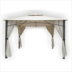 DC America Soho x Square Column, Two Tier Gazebo with Faux Privacy Screen, Bronze (Lawn