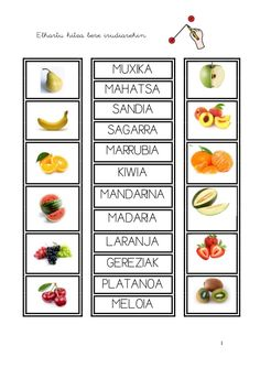 1 frutak fitxak Preschool Math, Messages, Orange, Spanish Teaching Resources, Toddler Learning Activities, Vocabulary, Basque, Text Posts