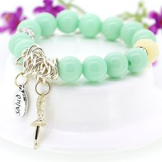 Fashion Korean Version Sweet Style Alloy and Resin Green Charming Dancing Girl Pendant Stretch Bracelet for Girls