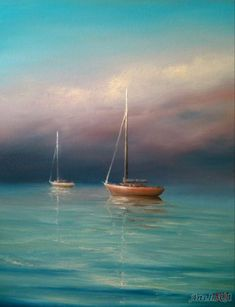 34 Ideas Painting Acrylic Sea Inspiration For 2019 Acrilic Paintings, Seascape Paintings, Watercolor Pictures, Watercolor Art, Sailboat Painting, Boat Art, Mini Canvas Art, Am Meer, Nature Pictures
