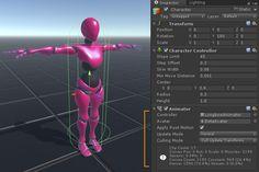 Unity humanoid character animator component
