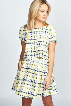 boohoo Maria Blue And Yellow Plaited Detail Skater Skirt - yellow