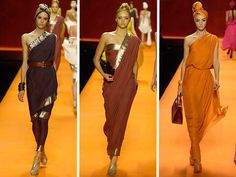 hermes saris. have definitely fashioned saris out of my shawl collection...cinching with a belt would probably make it suitable for a sat night out in nyc... or not..