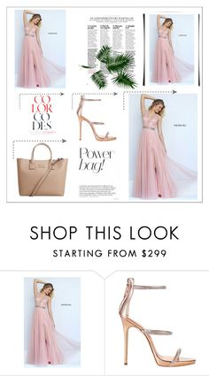 """""""Sherri Hill 50029 Blush A Line Long Homecoming Dress"""" by homecomingqueendress ❤ liked on Polyvore featuring Sherri Hill, Giuseppe Zanotti, MANGO, Prom, dress, cocktail, evening and Homecoming"""