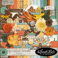 Life Captured: November digital scrapbooking kit by Jennifer Labre Designs