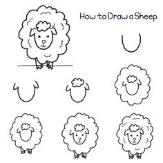 Heres a quick and easy way to draw a sheep that young or even older kids will surely enjoy. Step 1 Draw a letter U. Step 2 Draw a curvy letter v on each side. Step 3 Draw a cloud shape Art Drawings For Kids, Doodle Drawings, Drawing For Kids, Animal Drawings, Easy Drawings, Doodle Art, Art For Kids, Cute Heart Drawings, Dragon Drawings