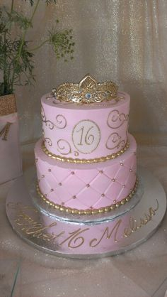Pink and gold sweet sixteen cake