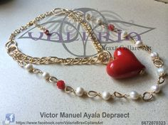 Collar doble de cadena doble eslabon de aluminio, perla de rio y corazon de cerámica by Valeria Brax&Collare Art