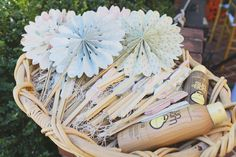cute pastel pinwheel fans and sunscreen for a hot wedding ceremony: Bridal Bliss Wedding