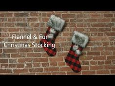 Knitting Patterns Christmas DIY Flannel and Fur Christmas Stockings (Free Pattern! Burlap Christmas Stockings, Diy Stockings, Christmas Stocking Pattern, Christmas Sewing, Christmas Pom Pom Crafts, Diy Christmas Ornaments, Diy Christmas Fireplace, Free Pattern, Flannel