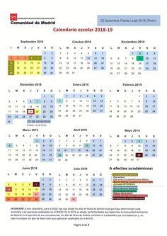 Calendario escolar 2018-2019 (con fiestas locales Pinto). Periodic Table, Diagram, Map, Vacations, School, Fiestas, Periodic Table Chart, Location Map, Maps