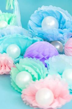 Take a Look at the 12 Most Beautiful Mermaid Party Supplies! Mermaid Theme Birthday, Little Mermaid Birthday, Little Mermaid Parties, Birthday Party Themes, Mermaid Themed Party, Birthday Ideas, Mermaid Party Decorations, Little Mermaid Centerpieces, Paper Party Decorations