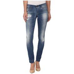 Diesel Grupee Trousers 667G (Denim) Women's Jeans ($198) ❤ liked on Polyvore featuring jeans, denim jeans, blue skinny jeans, super skinny jeans, destructed skinny jeans and skinny leg jeans
