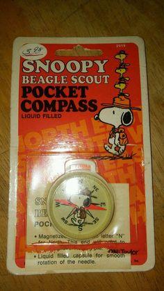 Vintage Taylor Snoopy Beagle Scout Pocket Compass 2919 1958,1965 UFS Peanuts