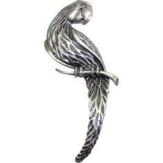 large JJ Parrot brooch Jonette pin #jewelry