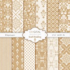 Kraft Wedding- White and Kraft Damask digital papers for scrapbooking, graphics, cards, wedding invites with damask, flowers, stripes, dots