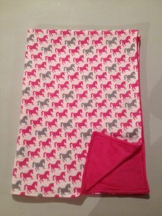 Pink and Grey Running Horses Minky Baby Blanket, Equine, Equestrian, Cowgirl, Baby Shower, Crib, Nursery Bedding, Car Seat, Baby Girl, Horse by StarBoundHorses on Etsy