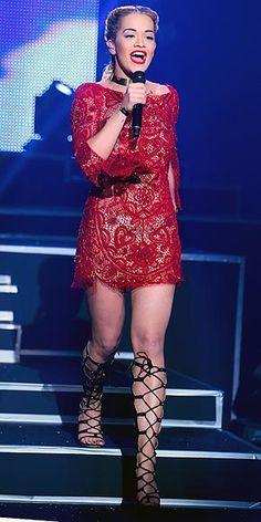 Rita Ora #reddress #lace