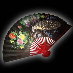 Wall Fan 70 inch Peacock with Black Background  Price: $29.99 Large Fan, Wall Fans, Hand Fan, Black Backgrounds, Peacock, Hand Painted, Design, Peacocks